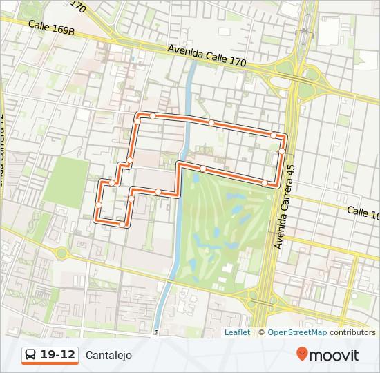 Mapa da linha 19-12 de SITP