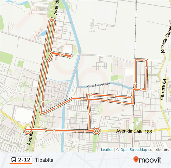Mapa de 2-12 de SITP