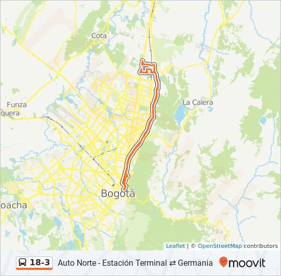 Mapa da linha 18-3 de SITP