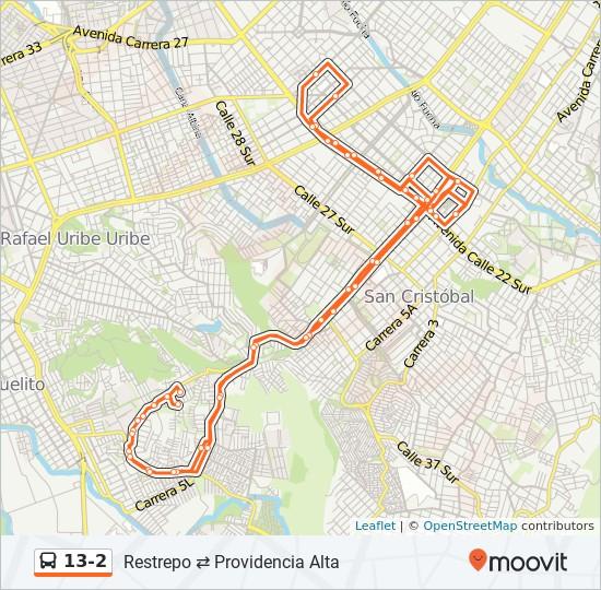 Mapa da linha 13-2 de SITP