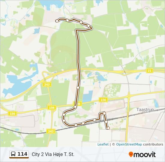 114 bus Linjekort