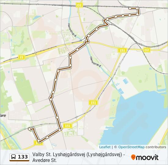 133 bus Linjekort