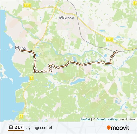 217 bus Linjekort