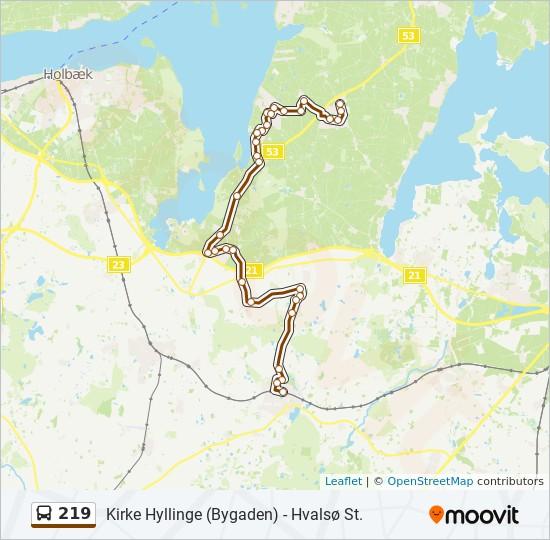219 bus Linjekort