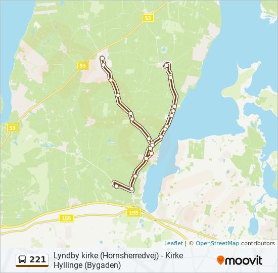 221 bus Linjekort