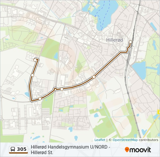 305 bus Linjekort