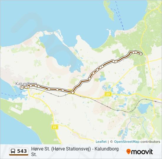 543 bus Linjekort