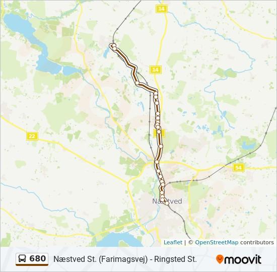 680 bus Linjekort