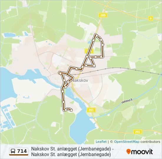 714 bus Linjekort