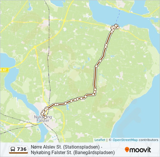 736 bus Linjekort