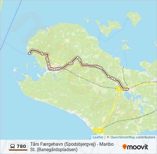 780 bus Linjekort