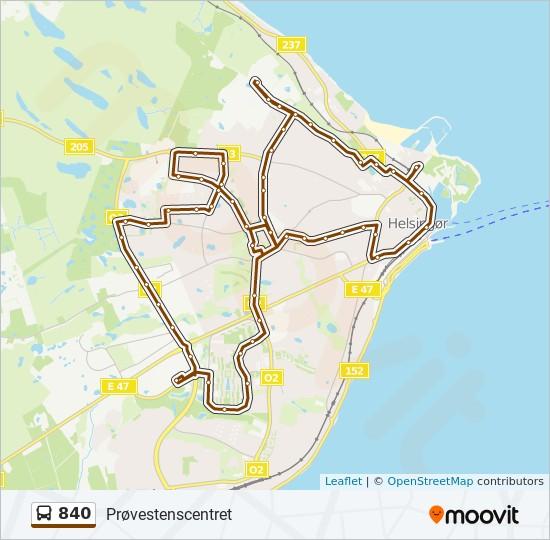 840 bus Linjekort