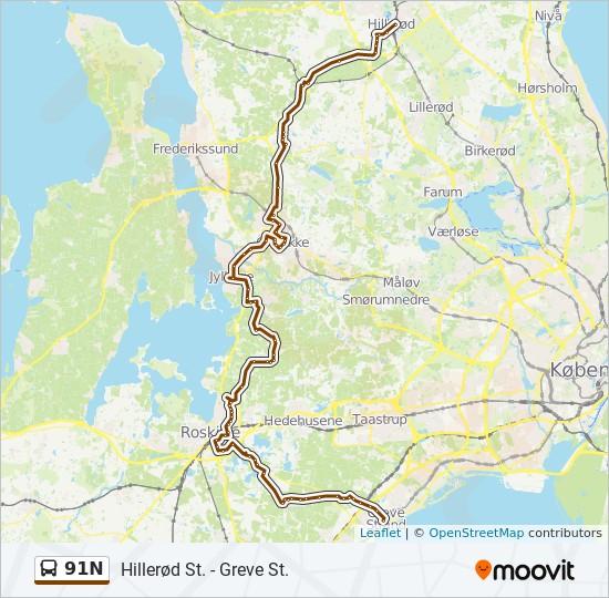 Bus Linie 91N Karte