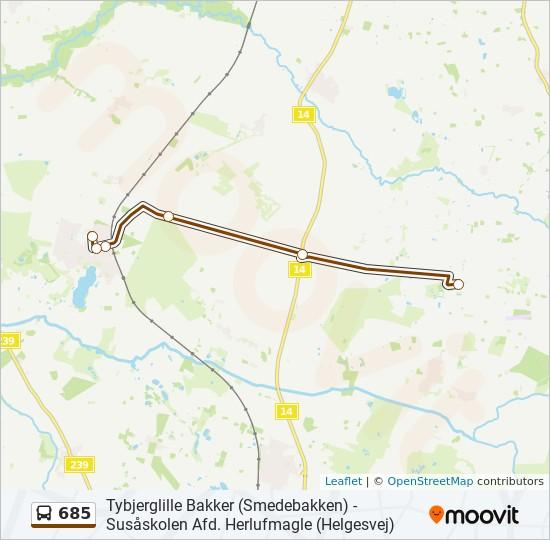 685 bus Linjekort