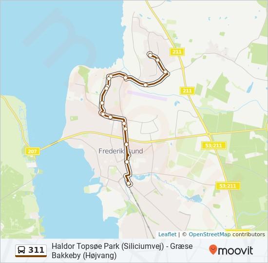 311 bus Linjekort