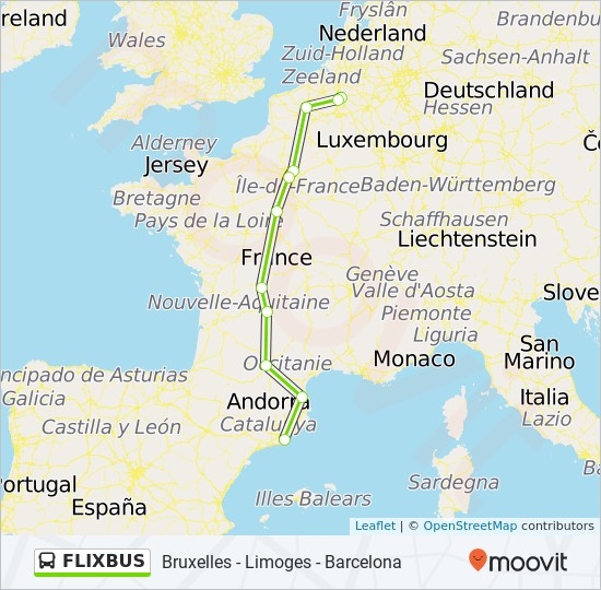 Flixbus Route Time Schedules Stops Maps Barcelona Nord