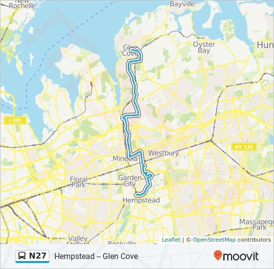 N27 bus Line Map