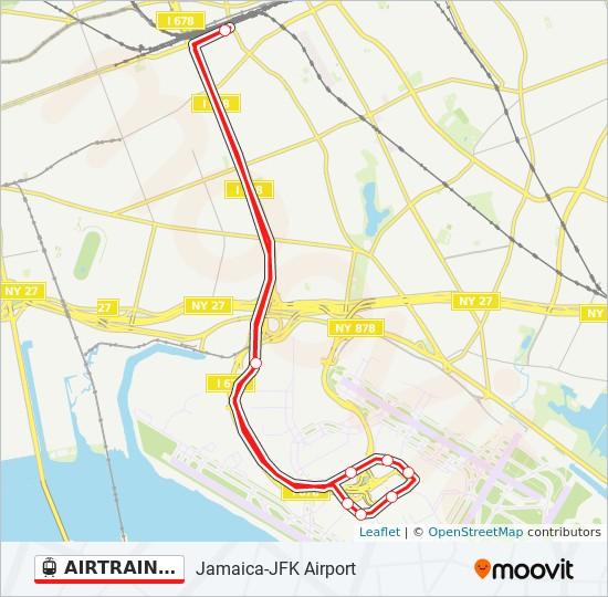 AIRTRAIN JFK RED light rail Line Map