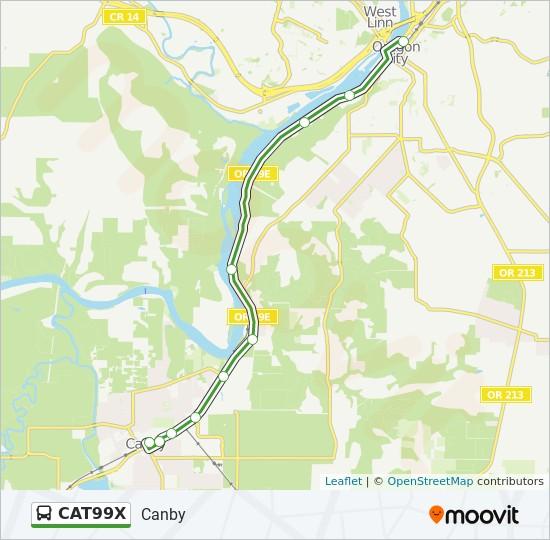 Mapa da linha CAT99X de ônibus