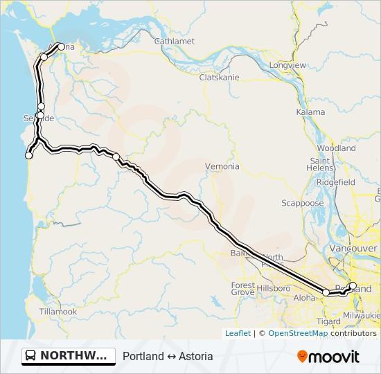 Mapa da linha NORTHWEST POINT de ônibus
