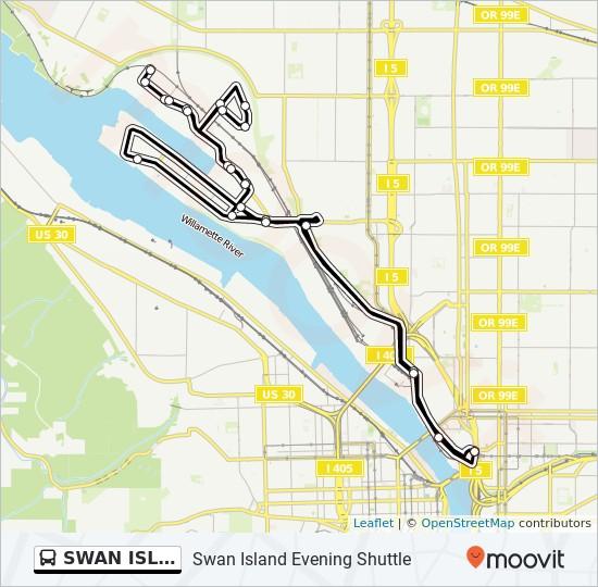 SWAN ISLAND EVENING SHUTTLE bus Line Map