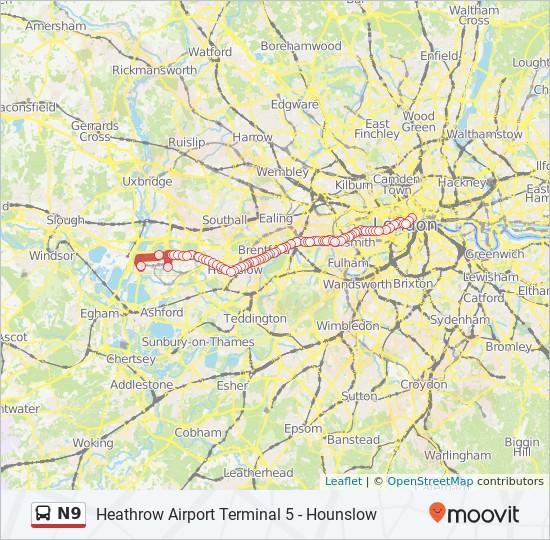 N9 bus Line Map