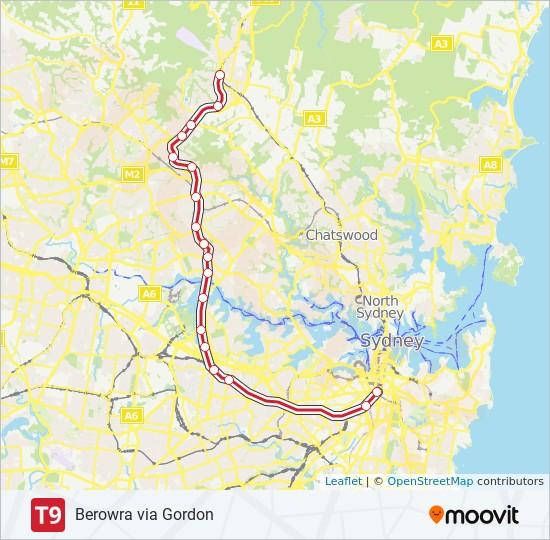 T9 train Line Map