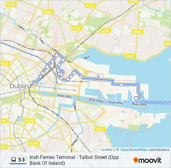 53 bus Line Map