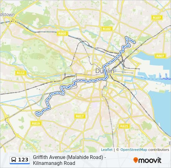 Ligne 123 Horaires Stations Plans Griffith Avenue Malahide Road Kilnamanagh Road