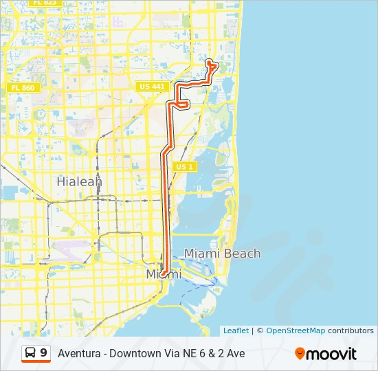 9 Route Time Schedules Stops Maps 9 Downtown Miami
