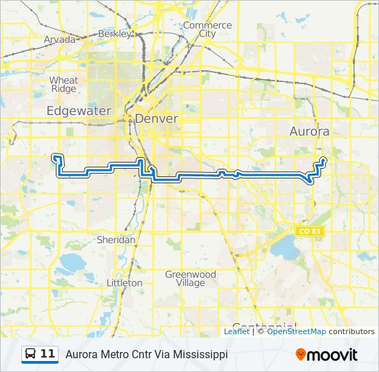 11 Route Time Schedules Stops Maps Aurora Metro Cntr Via Mississippi