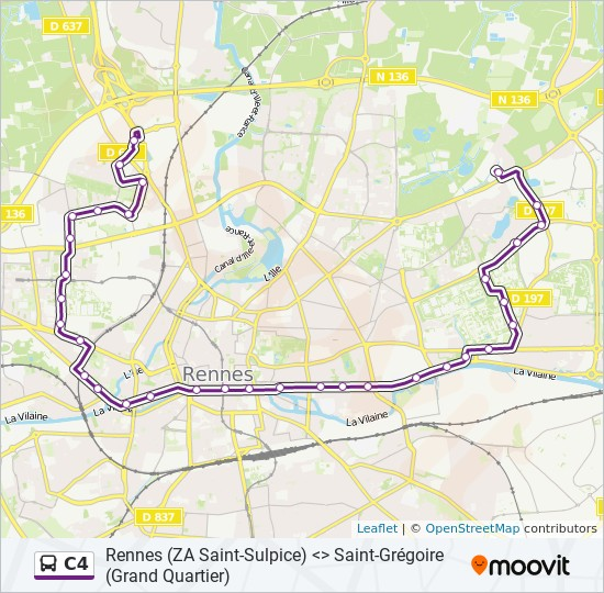 Ligne C4 Horaires Stations Plans Grand Quartier