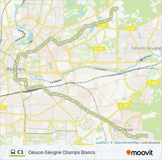 Ligne C1 Horaires Stations Plans Cesson Sevigne Champs Blancs