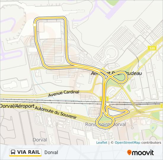 Plan de la ligne VIA RAIL de bus