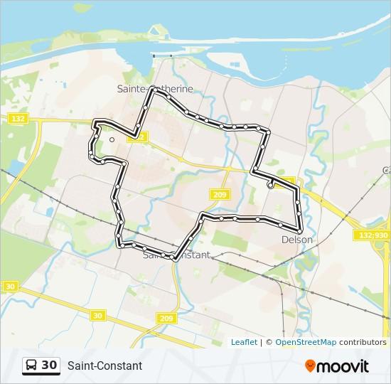 Plan de la ligne 30 de bus