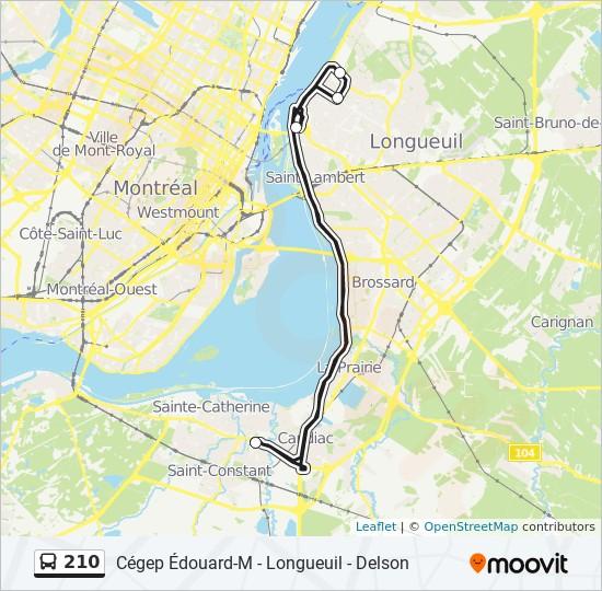 Plan de la ligne 210 de bus