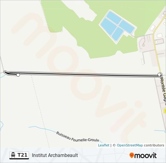Plan de la ligne T21 de shuttle