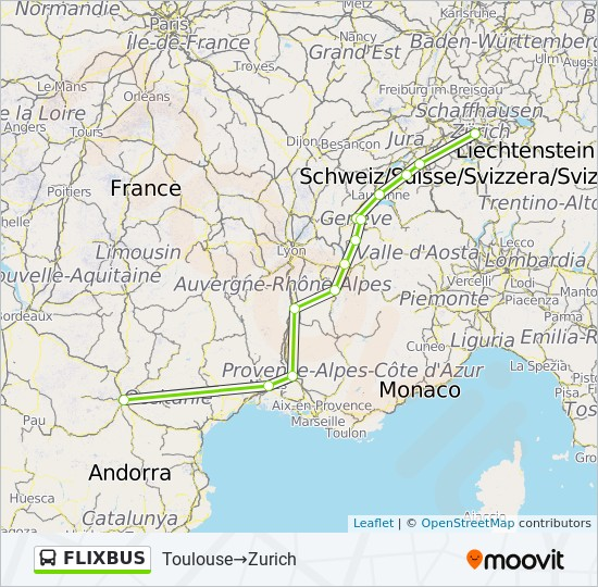 Flixbus Route Time Schedules Stops Maps Toulouse Zurich