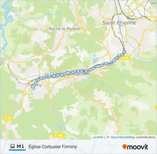 Plan de la ligne M1 de bus