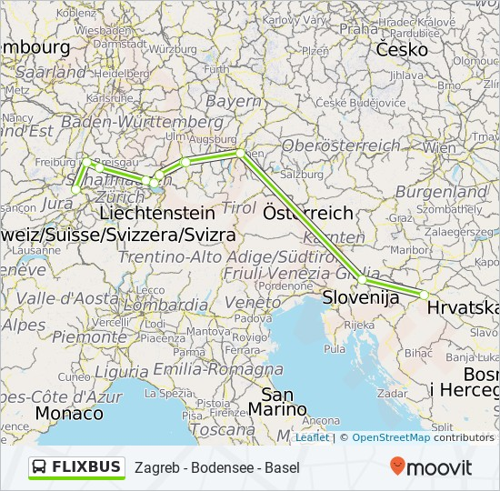 Flixbus Route Time Schedules Stops Maps Basel Basel Sbb Zagreb