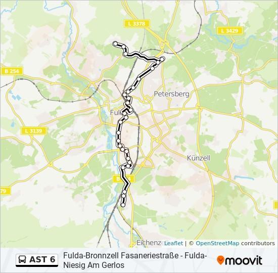 AST 6 otobüs Hat Haritası