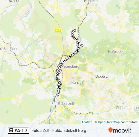 AST 7 otobüs Hat Haritası