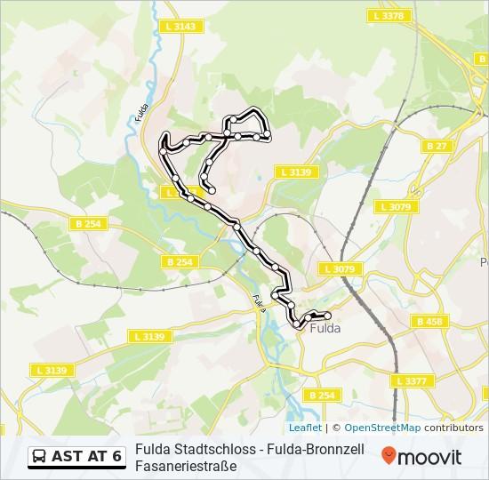 AST AT 6 otobüs Hat Haritası