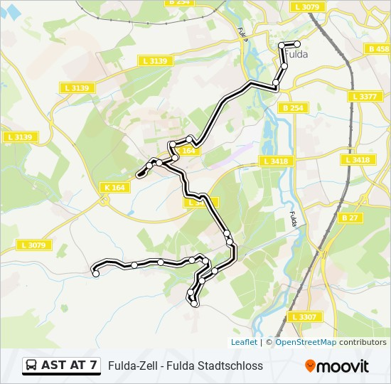 AST AT 7 otobüs Hat Haritası
