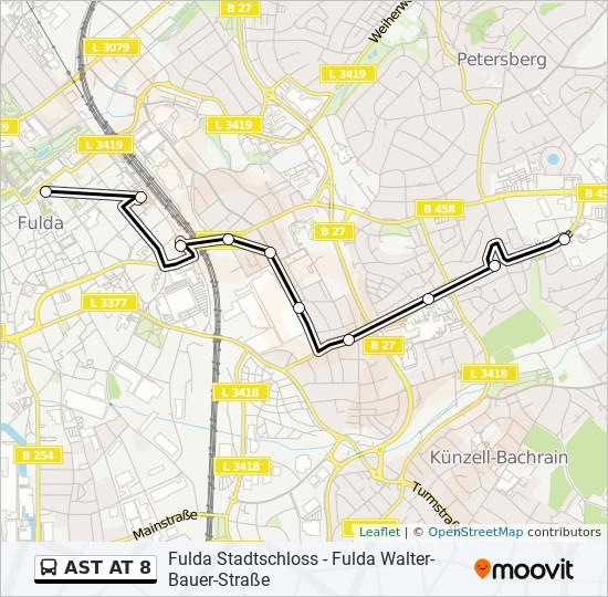 AST AT 8 otobüs Hat Haritası