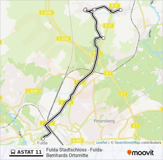 ASTAT 11 otobüs Hat Haritası