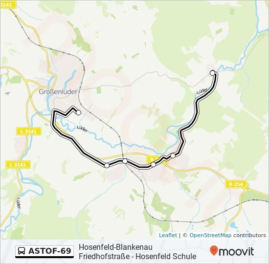 ASTOF-69 otobüs Hat Haritası