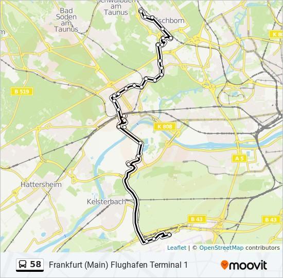 58 Route Time Schedules Stops Maps Frankfurt Main Flughafen Terminal 1