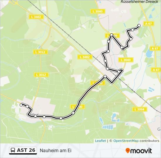 AST 26 otobüs Hat Haritası