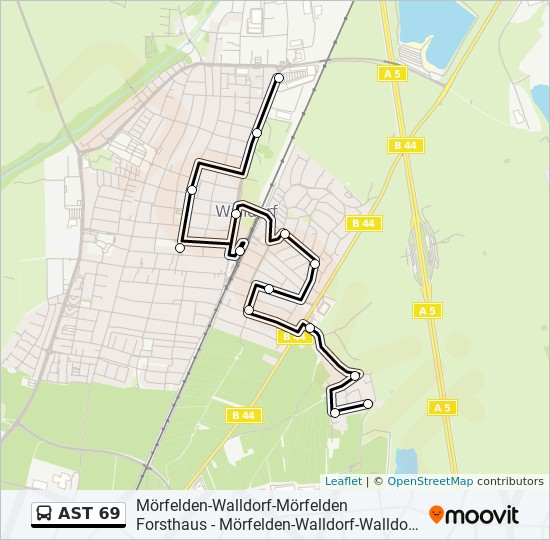 Mapa de AST 69 de autobús